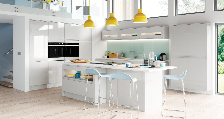 Handleless Light Grey High Gloss J Pull Kitchen Collection