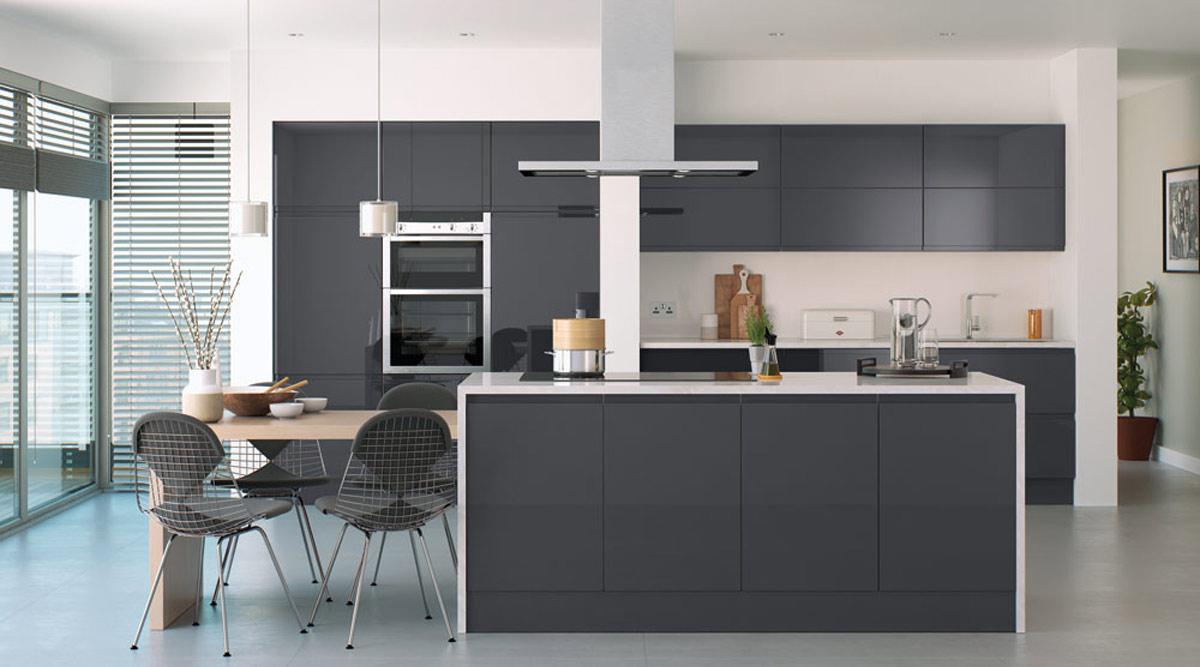 High Gloss J Pull Graphite Handleless Modern Kitchen