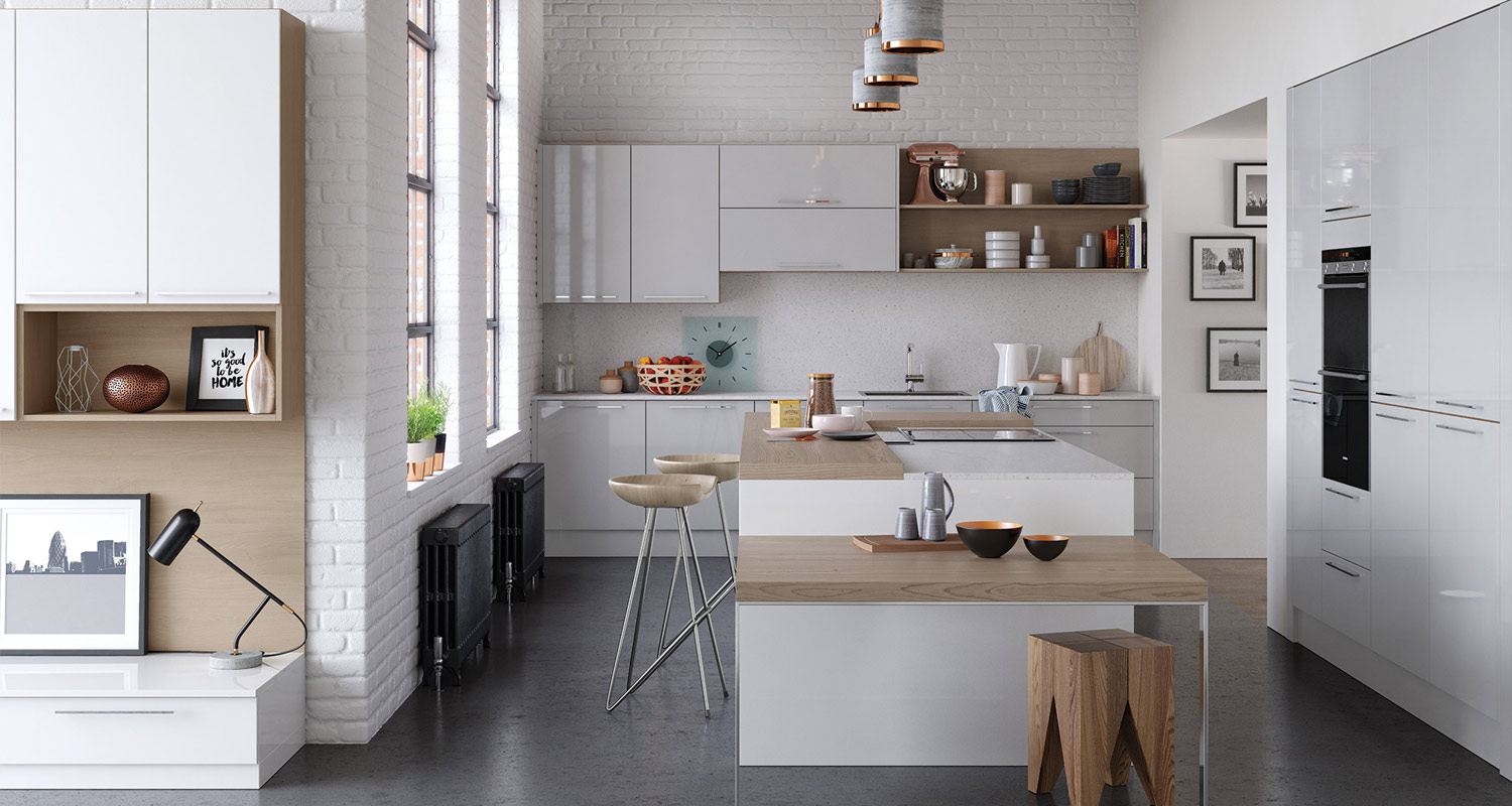 High Gloss Light Grey Kitchen with Handles.