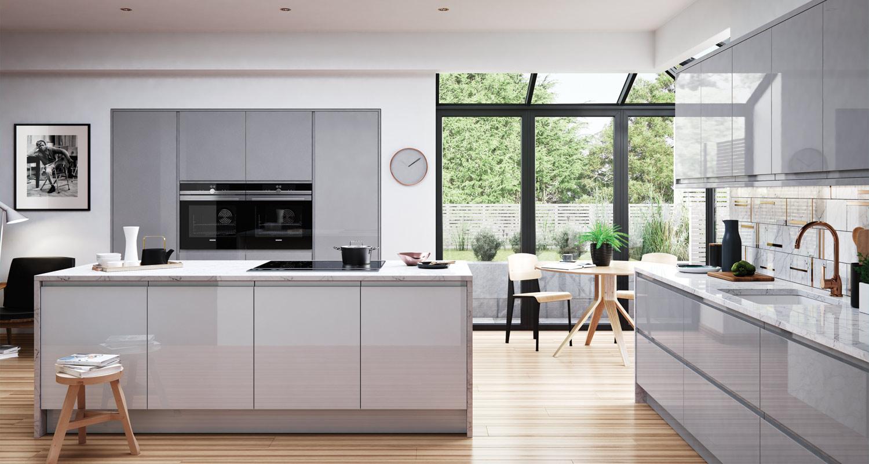 High Gloss J-pull Handleless Kitchen Light Grey