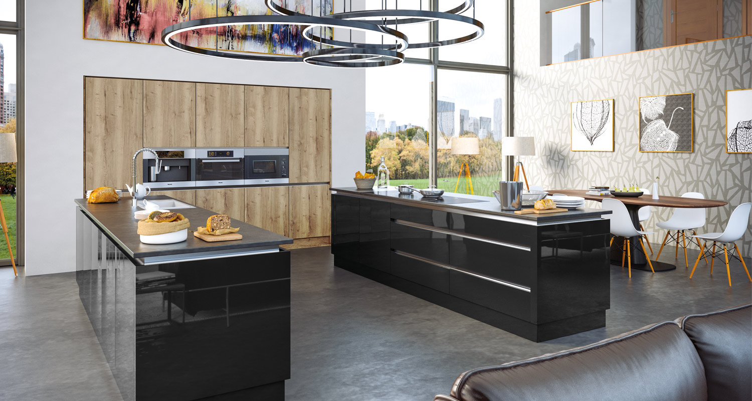 Zina Acrylic High Gloss Kitchen Black and Rustic Oak
