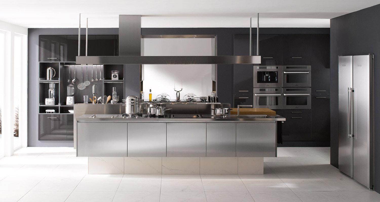 Metal Kitchens in London. Steel effect.