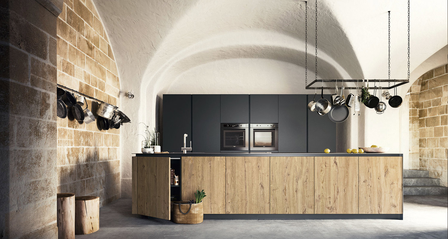 Modern Handleless Wood Kitchens in London.