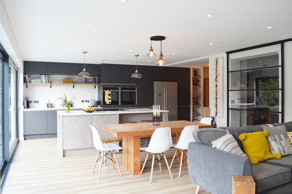 Handleless Dark Grey Matt Kitchen Installation in London