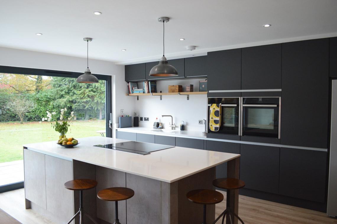 Handleless Modern Dark Grey Matt Kitchen Installation In London
