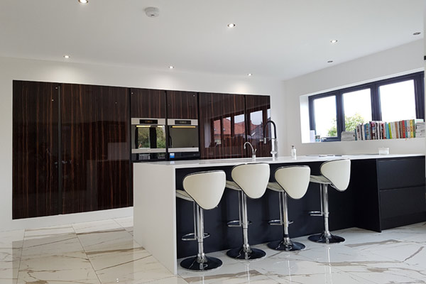 Premium High Gloss Wood Veneer Handleless Kitchen in London